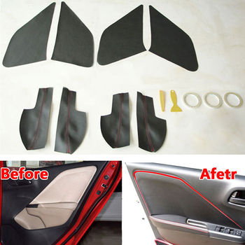 For 2014 Honda City Car Door Panel + Armrest Surface Cover Trim Dust-proof Guard Interior Car Styling Accessories PU Car-Covers