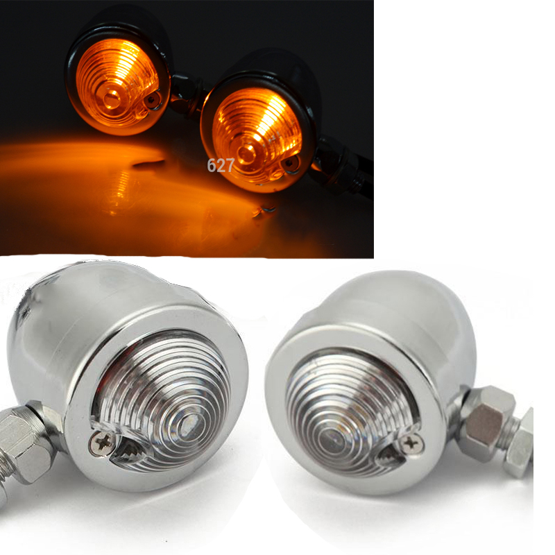 2PCS Chrome Motorcycle Turn Signals Indicator Lights Amber font b Lamp b font For Harley Softail