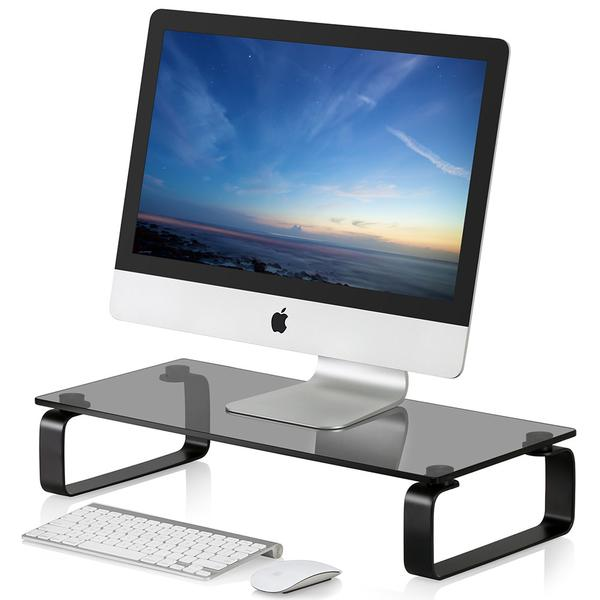 Fitueyes Computer Monitor Riser and Laptop Stand, 4.7in High 23.6in Desktop Stand DT106005GB fitueyes wood monitor stand computer monitor riser desktop organizer tv shelves display shelf storage space 2 tiers laptop stand