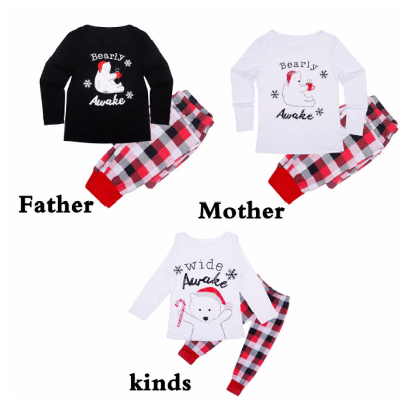 Adult Kid Baby Sleepwear Nightwear 2017 New Bebes Family Matching Christmas Pajama Set Hot Sale Fall Family Matching Pyjamas Set