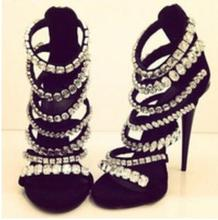Newest Bling Bling Crystal Sandals Gladiator Rhinestone Ankle Buckle Rivets Sandals Sexy Open Toe High Heel Dress Sandals bling bling crystal newest fashion women shoes cheap price hot selling new design ankle open toe sandals gladiator nude jeweled
