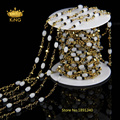 New Golden Plated Brass Wire Wrapped Natural White Glass Stone Rice Beads Link Rosary Chains Jewelry Findings HX012