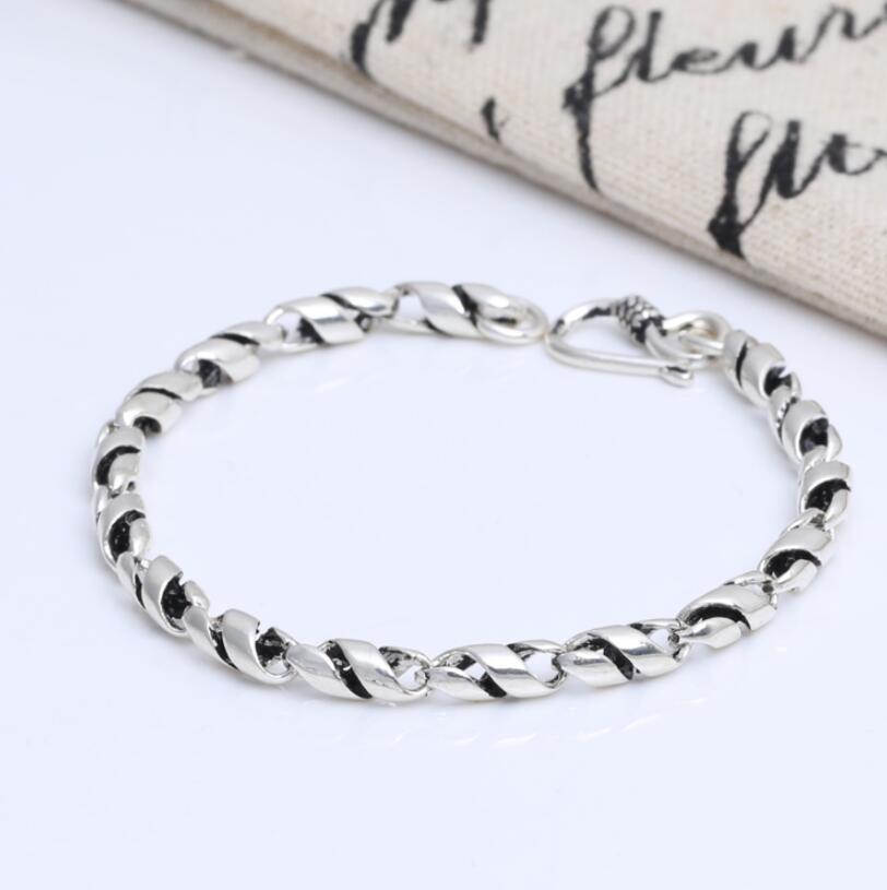 S925 sterling silver jewelry retro Thai silver male twisted bracelet silver pearl twisted open bracelet