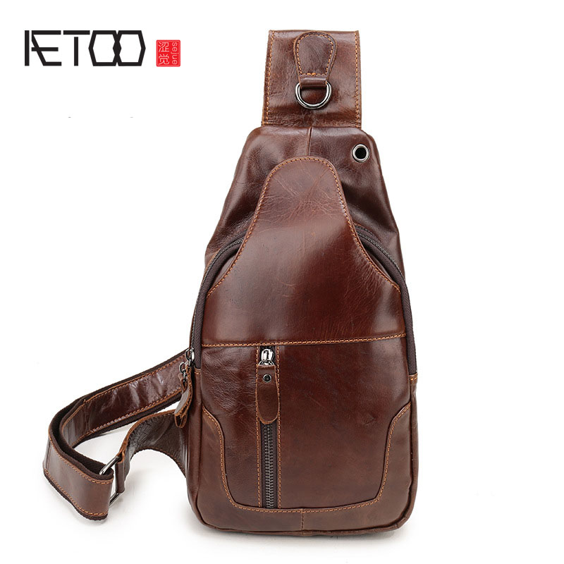 AETOO New Slim Breast Bags Men s Leather Cushion Cowboy Shoulder Messenger Casual Large Capacity Chest