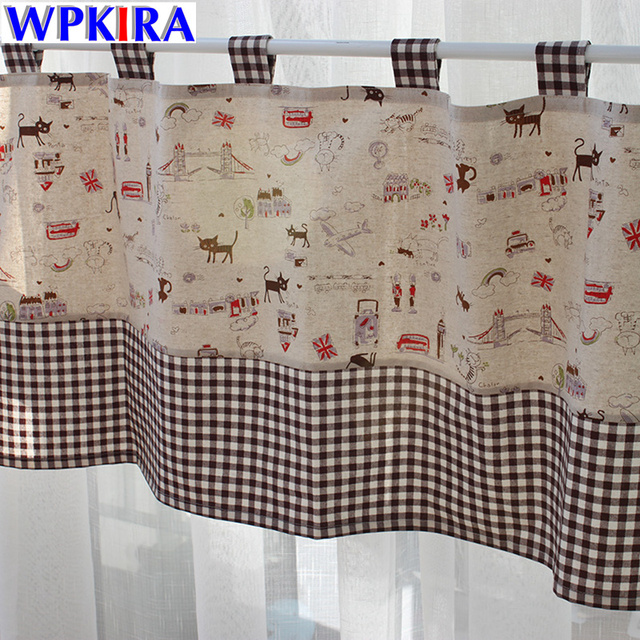 Print Cafe Curtains Living Room Sweet Cat Patterned Short Coffee Curtain Cloth Plaid Design