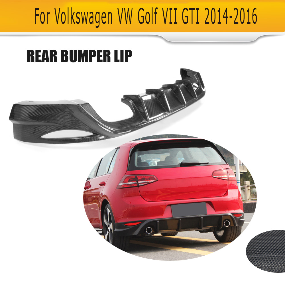 Carbon Fiber Car Rear Bumper Lip Spoiler Diffuser For Volkswagen VW GOLF VII 7 MK7 Standard And GTI 14-16 dual exhaust one out for vw golf gti 7 vii mk7 2014 2015 red lens led rear bumper reflector light lamp
