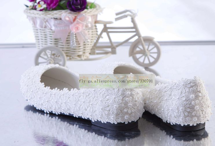 Chaussures Femelle La Mariée Blanc Appartements Tg1083 Mariage De Noce Dentelle Perles À Main Femme v4UUqEw