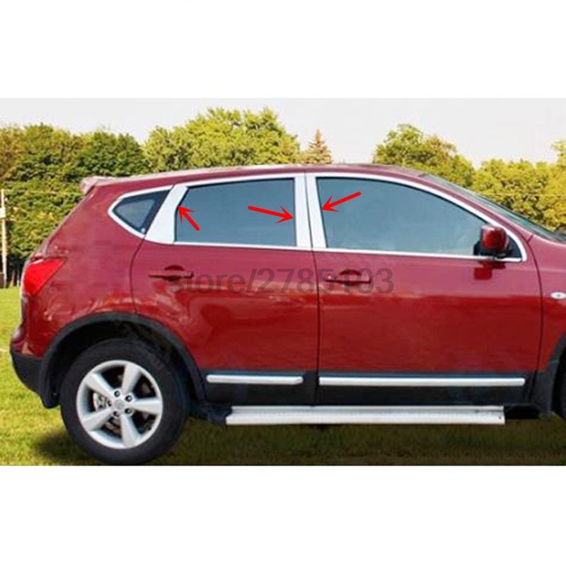 FOR NISSAN QASHQAI 2008-2014 WINDOW CHROME PILLAR POST COVER TRIM MOLDING GARNISH ACCENT STYLING ACCESSORIES