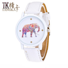 Girl watches elephant clock display white background color  leather strap student quartz watch  fashion Female Casual Watches