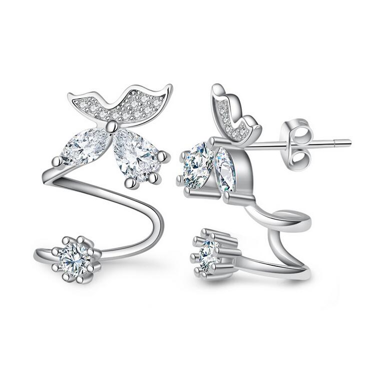 Hot prodati modni leptir kristal 925 srebra dame naušnice naušnice - Fine nakit