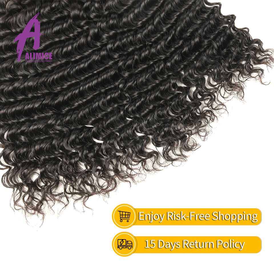 Brazilian Deep Wave Hair Weave 100% Human Hair Bundles With Closure - Mänskligt hår (svart) - Foto 6