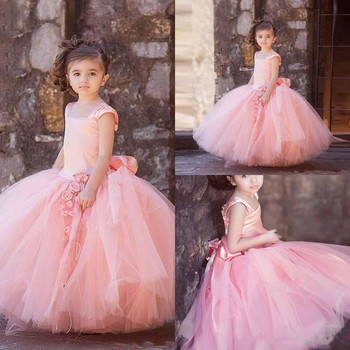 High Quality Ball Gowns For Elegant Princess with Handmade Flowers Big Bow Back Kids Formal Wears Customized Flower Girl Dresses