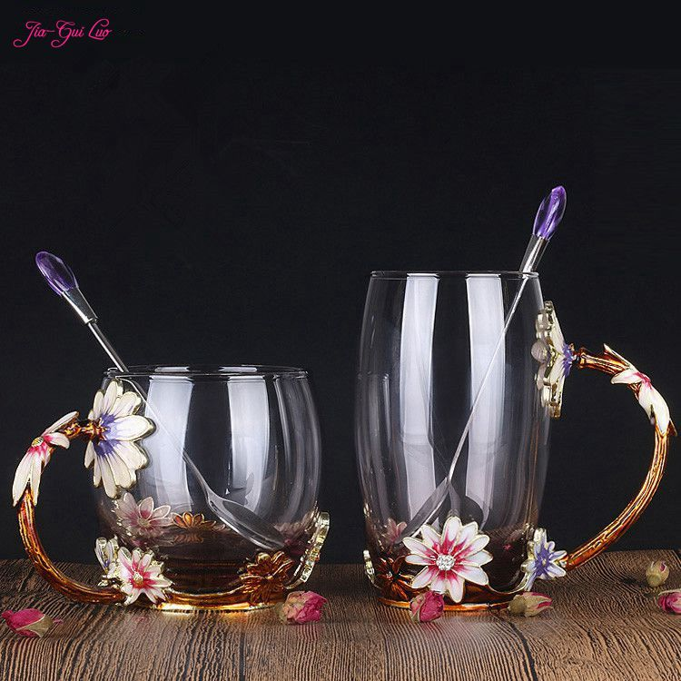 Jia Gui Luo Luxury upgrade enamel glass of rose bowl heat resistant crystal glass coffee cup