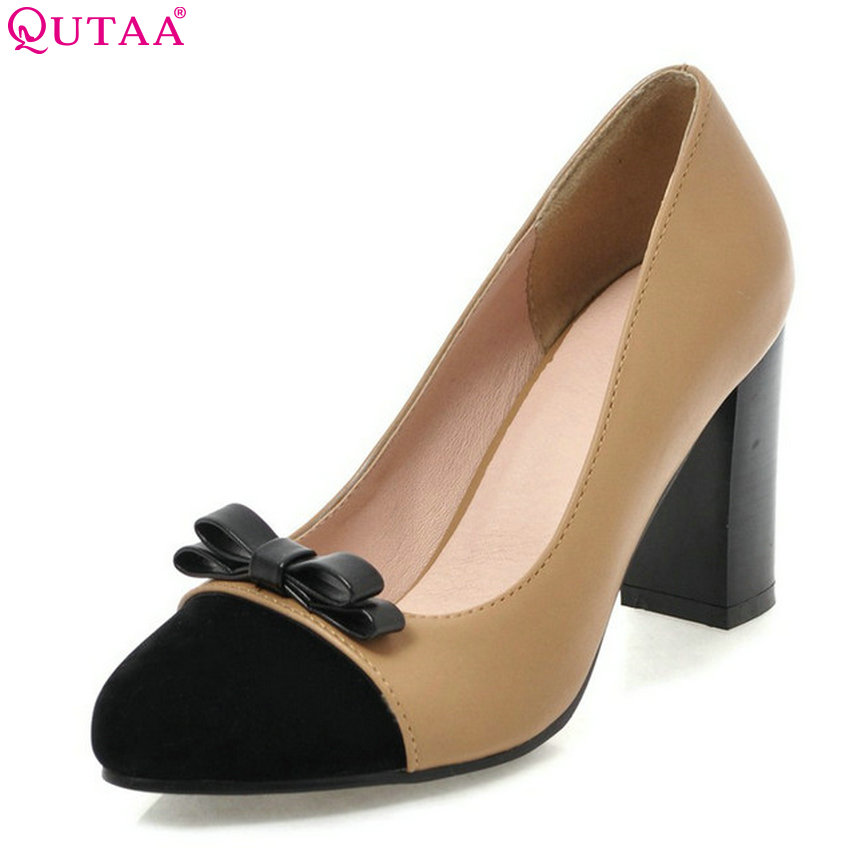 QUTAA 2018 Women Pumps Pu Leather + Flock Fashion Women Platform Shoes Square High Heel Pointed Toe Women Shoes Size 34-43 xiaying smile summer new woman sandals platform women pumps buckle strap high square heel fashion casual flock lady women shoes