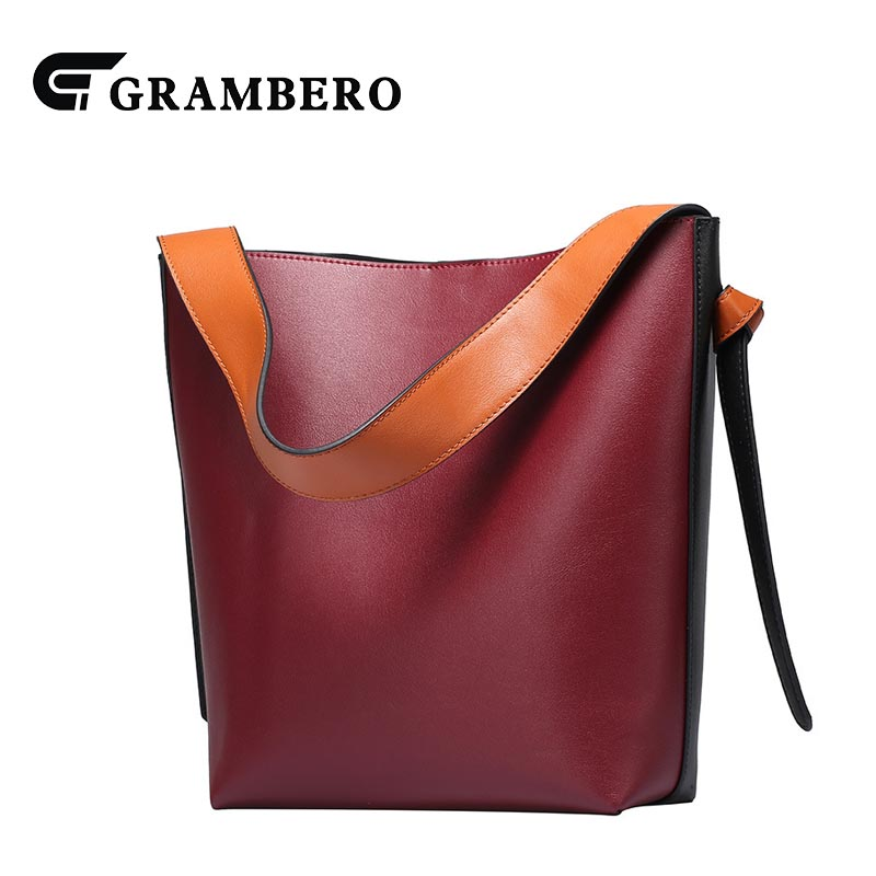 Fashion Women Bucket Bag Large Capacity Soft Genuine Leather Split Leather Shopping Handbag Sent Friends Gift Hasp Shoulder Bag 100% genuine leather make cow leather handbag shoulder bag shell bag middle aged women suitable for life shopping the best gift