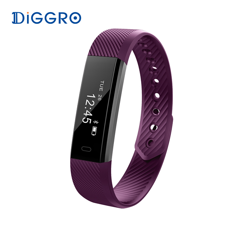 Diggro ID115 Smart Bracelet Bluetooth 4.0 Pedometer Calorie Sleep Monitor Call/SMS Reminder Sedentary Reminder for Android IOS