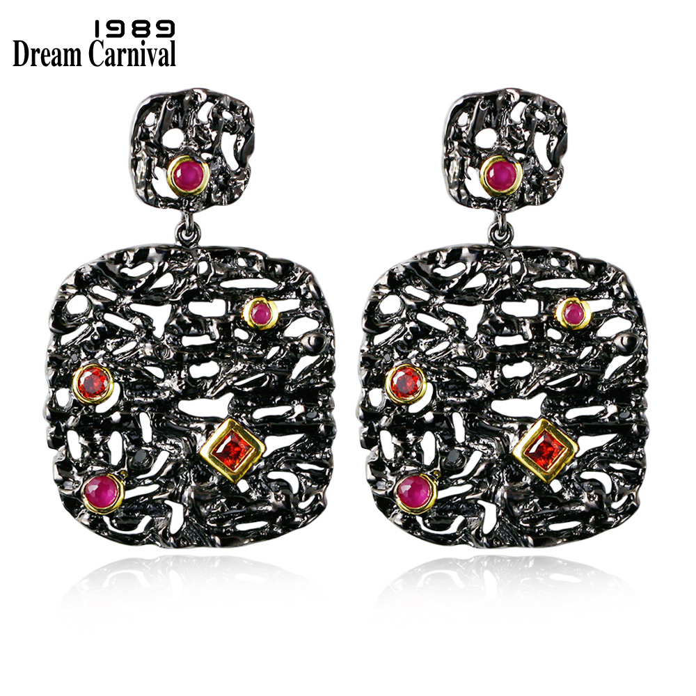 DreamCarnival1989 New Arrive Women Luxury Unique Vintage Drop Earrings Black & Gold Contrast Siam Fuchsia Cubic Zircon ZE52796 contrast drop earrings