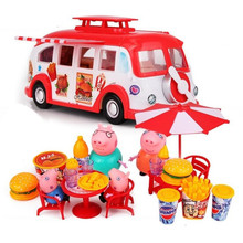 Peppa Pig Doll Fashion Dining Car Sports Family Full Roles Action Figure Model Children Gifts