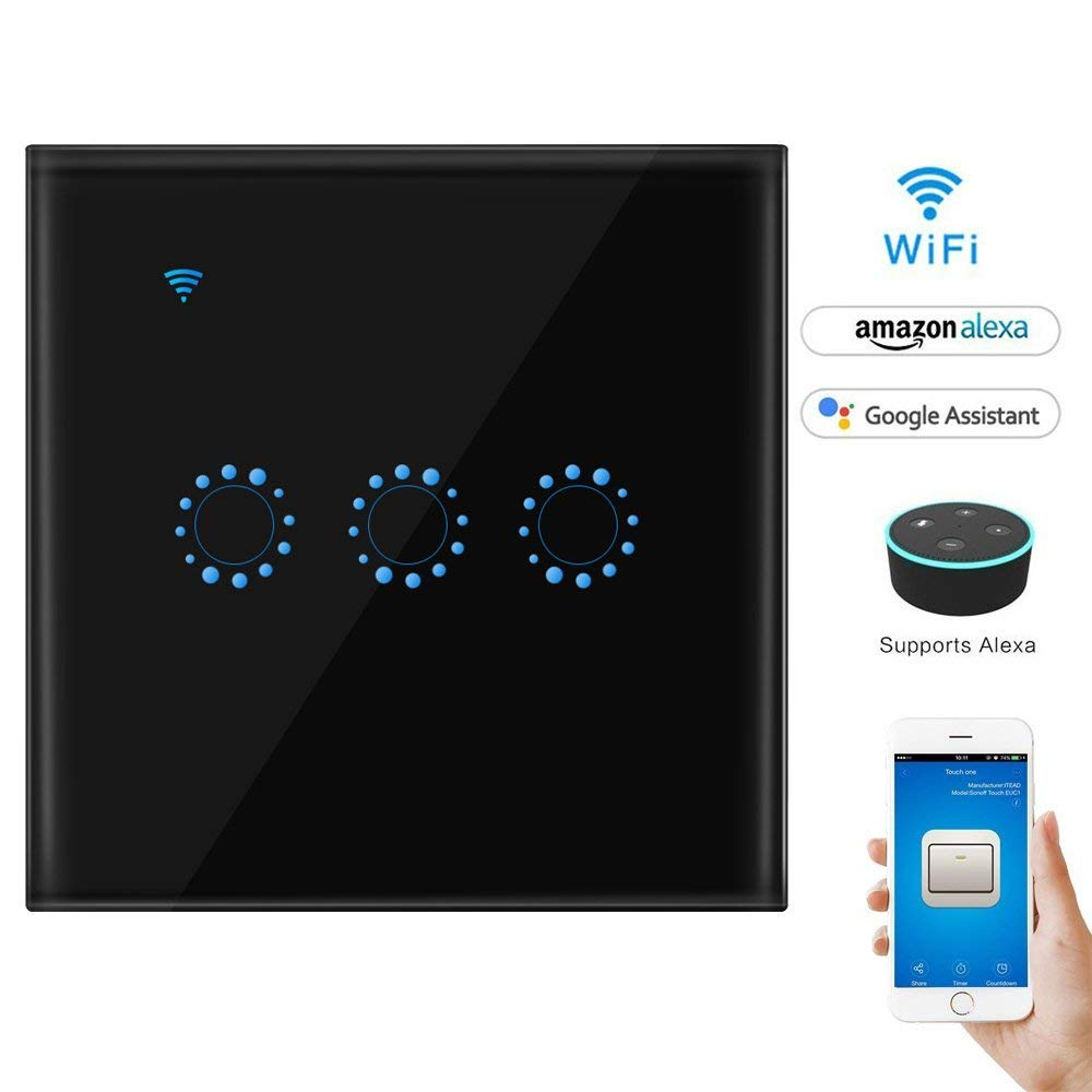 Hyleton Wifi switch Wireless Intelligence Wall Switches Remote Control Via APP/Voice Work with Alexa Google Home Light Switch mini wifi rgb strip light controller with music control and voice control compatible with google home