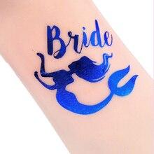 Blue Mermaid Flamingo Wedding Tattoos Decorations Team Bride to be party Decoration Boda Theme