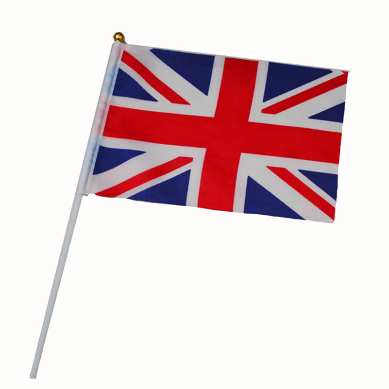 21*14cm England National Flag UK Flying Flag Britain United Kingdom Banner with Plastic Flagpoles hand waving flags 5pcs
