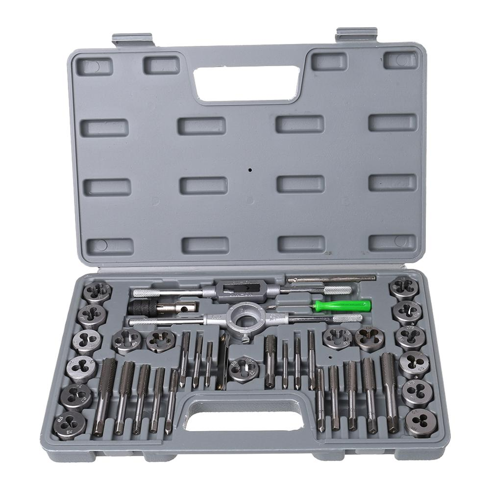 40Pcs Tap Die Set Hand Thread Plug Taps Hand Threading Tool Screw Thread Wrench Dies Kit With Storage Case