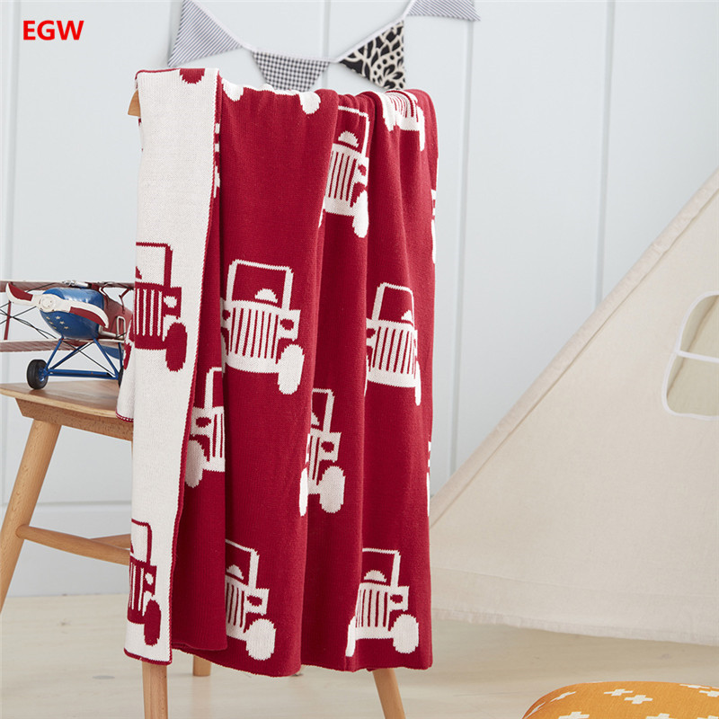 Home textile Red Car Printed Blanket Gray Knitted Cotton Thread Knee Blankets For Children Bed Travel Christmas New Year Gift