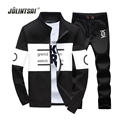 Jolintsai New Arrival 2017 Polo Suit Men Plus Size 4XL 5XL Patchwork Zipper Sweatershirt+Pants Sportwear Men Tracksuit Set