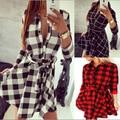 Vancol 2016 Denim Dress Women's Plaid Dress Black Vestidos Femininos V Neck Dress Shirt Checkered Summer Women Plus Size Dress