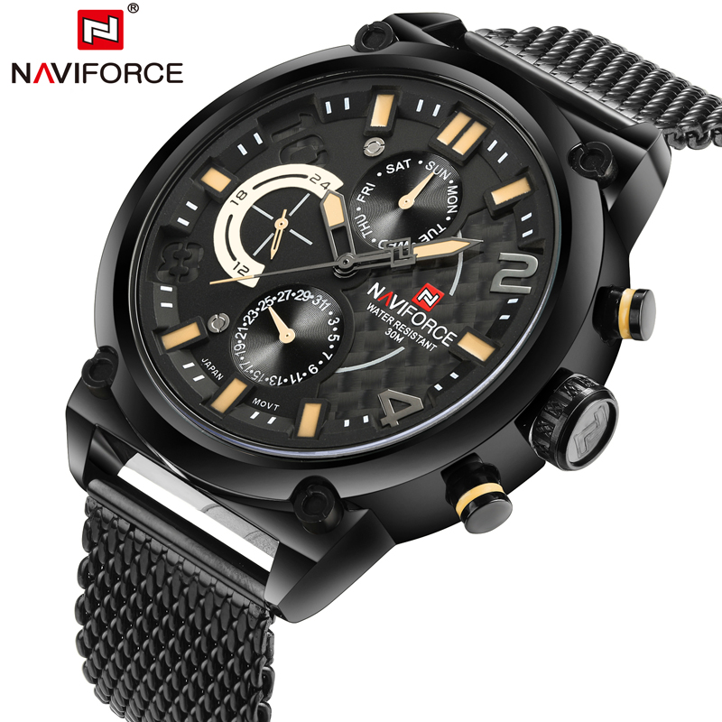 2017 Men Watch Fashion Mens Quartz Watches Stainless Steel Mesh Strap Waterproof Business Watch Hour for