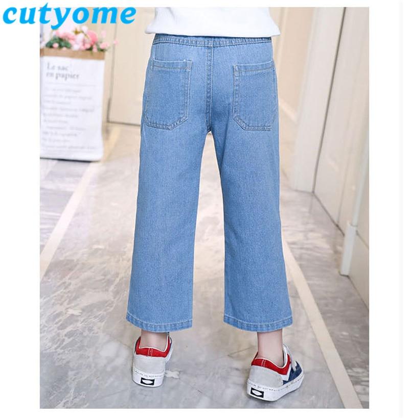 Light Blue Teenager Girls Wide Leg Jeans 2019 Spring Autumn Children Casual Solid Streetwear Denim Pants Kids Trousers 7/8 12 13 4