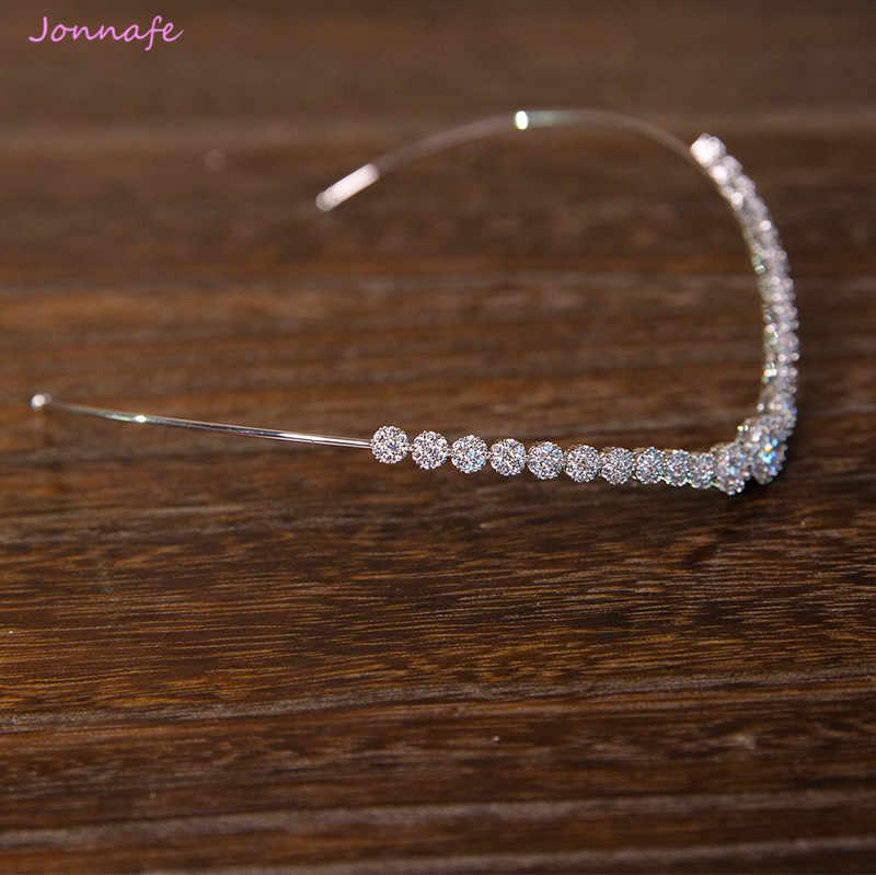 Jonnafe moda nupcial tiara para frente boda corona de pelo accesorios de plata de las mujeres de joyas de diadema