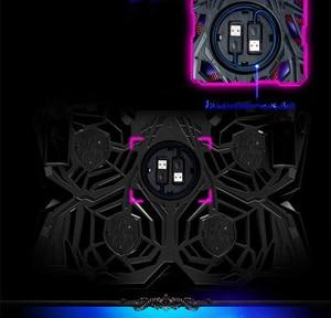 "Image 3 - アイスマジック 2 クーラーと 4 沈黙ファン led usb 2.0 ノートパソコン冷却パッド 12 ""13"" 14 ""15"" 17 ""ラップトップノンスリップ 2 usb ポート"