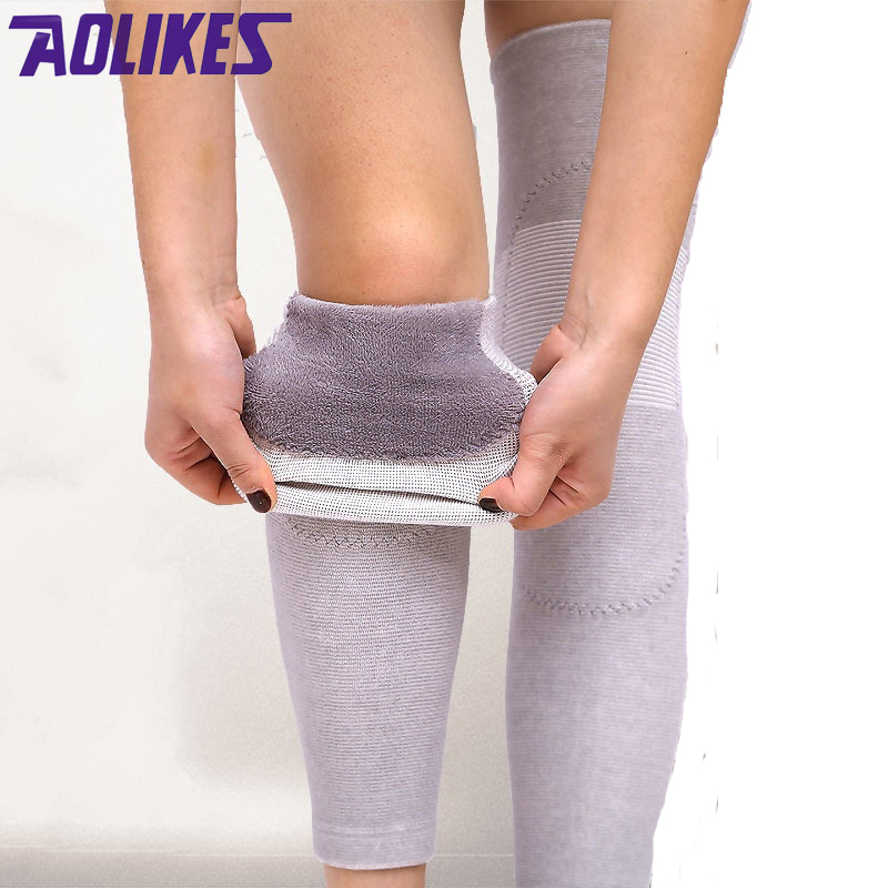 AOLIKES 1 Pair Plus Cashmere Winter Keeping Warm Cycling Leg Warmer Sleeve Kneepad Yoga Running Knee Support Brace For Women Men