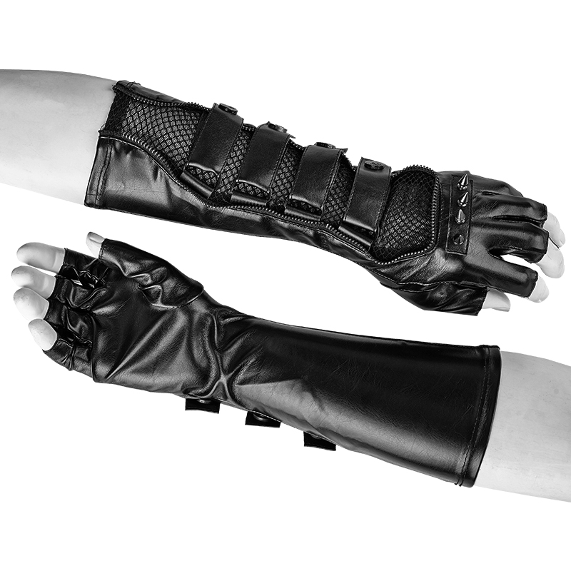 Fashion Gothic PU Genuine Leather Gloves Punk Long Gloves Rock  Winter  Fingerless Casual Tactical Gloves Black Leather Gloves