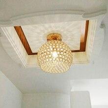 Современный короткий проходной K9 хрустальный шар E27 светодиодный потолочный светильник домашний Декор Спальня хромированный Железный потолочный светильник