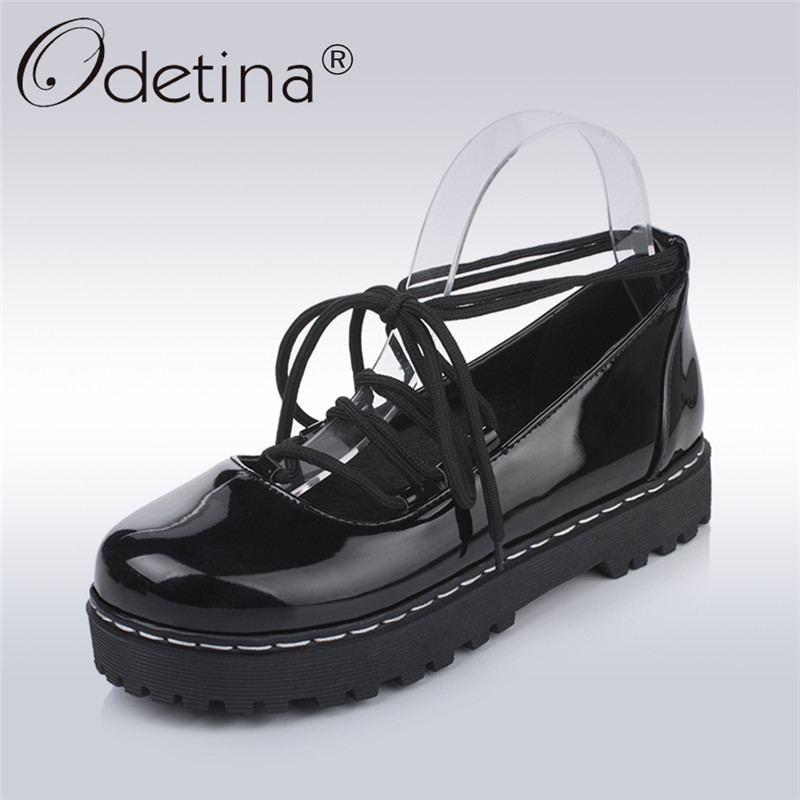 086ace8e02e9 Detail Feedback Questions about Odetina 2017 New Fashion Ladies Ankle Strap  Flats Women Flat Platform Casual Shoes Lace Up Round Toe Sweet Shoes Big  Size 34 ...