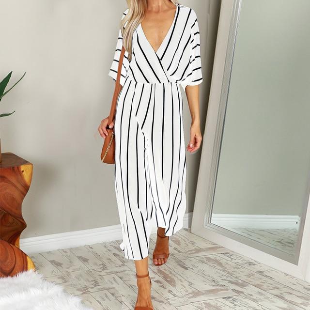 b5cb308dc3a 2018 Plus Size ZANZEA Casual Deep V Neck 3 4 Sleeve Striped Summer Wide Leg  Long Playsuit Women Elegant Party Bodysuit Jumpsuits