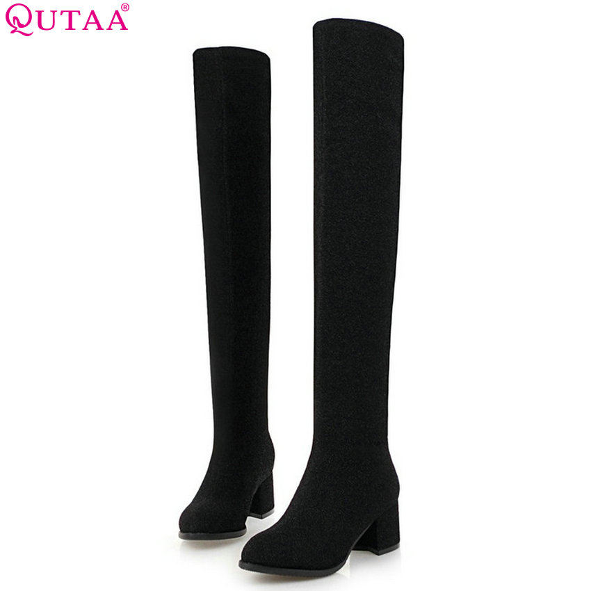 QUTAA 2020 Women Over The Knee High Boots Platform Slip on Winter Shoes Square High Heel