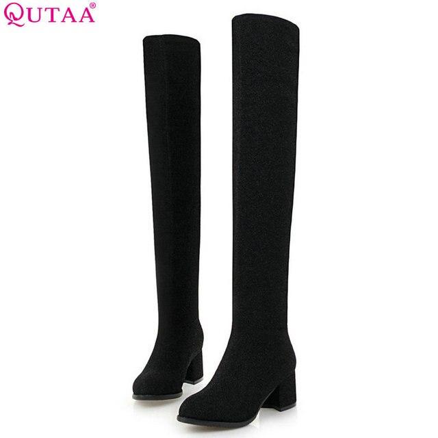 4aa8c27b9 QUTAA 2019 Mulheres Sobre O Joelho Botas De Cano Alto Plataforma  Deslizamento em Sapatos de Inverno
