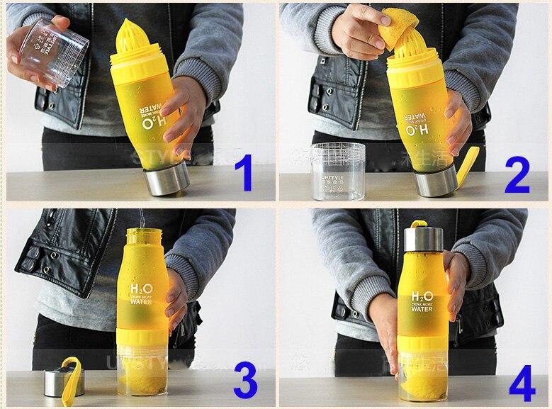 Hot Creative 650ml H2O Water Bottle Juice Lemon Fruit Drinking Bottle Sports Travel Bottle Portable Gift Dropshipping
