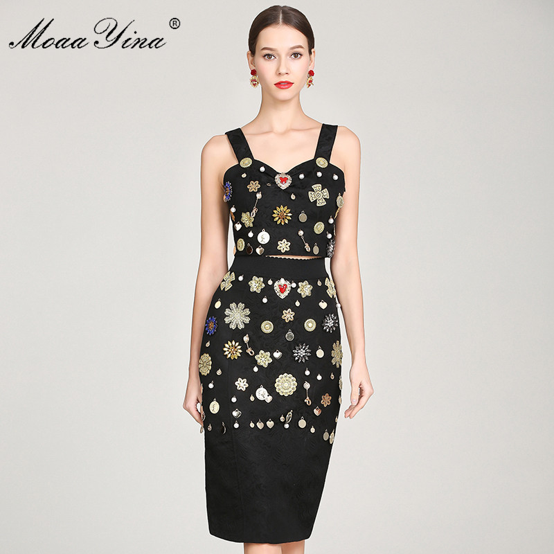 MoaaYina Fashion Designer Set Summer Women s Sexy Spaghetti Strap Pearl Sequin Diamond Vintage Tops Midi