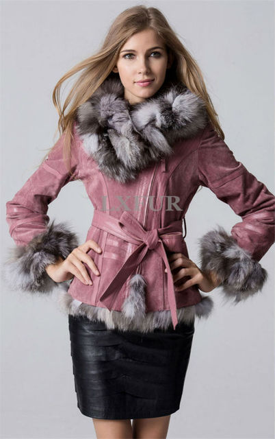 c383110103ff7 Classical Lady Genuine Pig Leather Coat with Big Fox Fur Collar Winter Women  Leather Jacket with