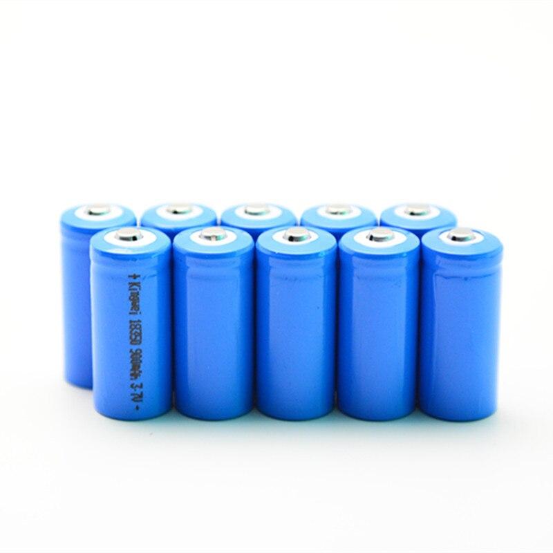bfa3ca0af KingWei 100 قطع 18350 3.7 فولت بطاريات قابلة للشحن بطارية ليثيوم 900 مللي  أمبير ل ليد قلم ليزر كشافات شحن ما يصل إلى 500 مرة الساخن