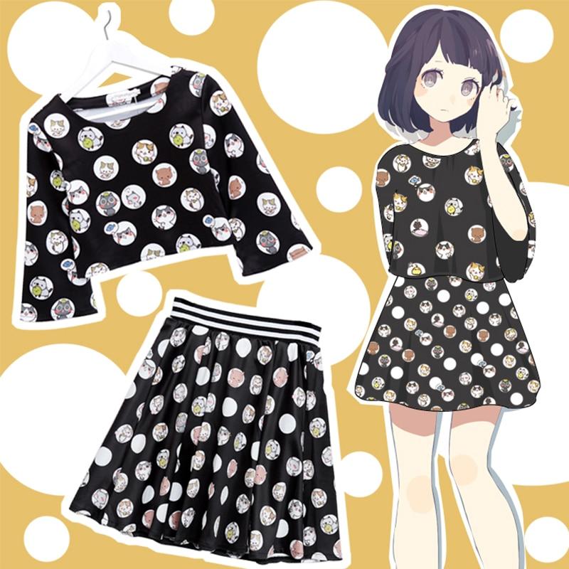 New Casual Cat Backyard Cosplay Costume Lolita Sweet Women Girls Suit Cool Cartoon Shirt T-shirt+Skirt