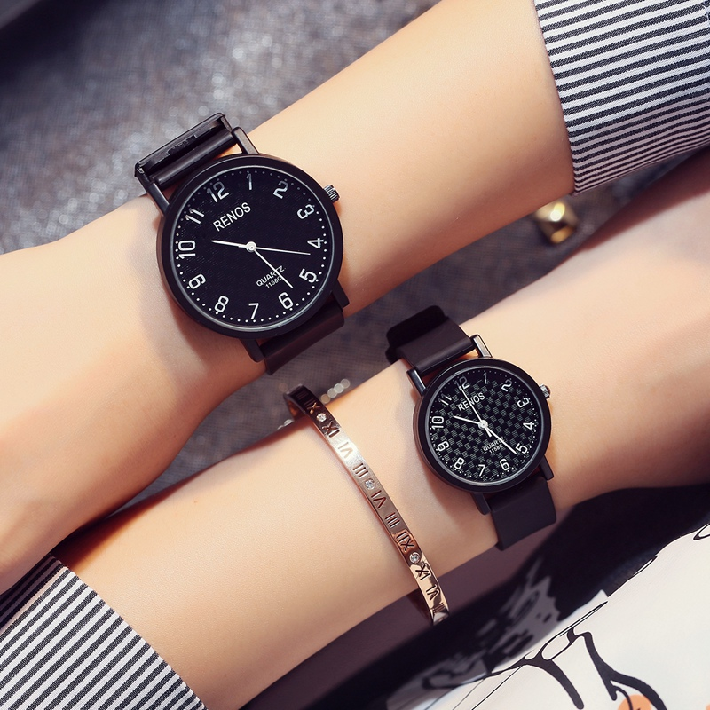 RENOS Stylish Lovers' Wristwatches Simple Casual Fashion Quartz Watch In Box Analog Watches PU Band For Men Woman Gifts Unisex astina 0476 women s stylish analog quartz wristwatch w pu band white coffee 1 x 626