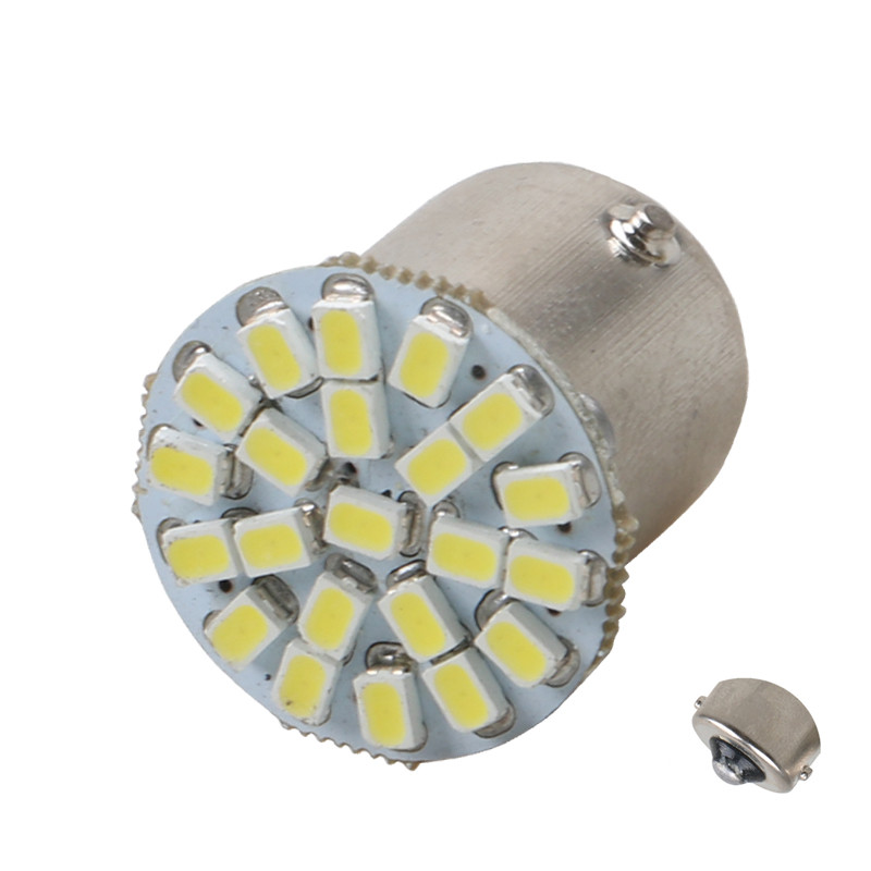 цена на 1x Car led BA15S P21W 1156 22 LED 1206 SMD 1157 BAY15D Auto Tail Side Indicator Lights Parking Lamp Bulb White 12V car styling