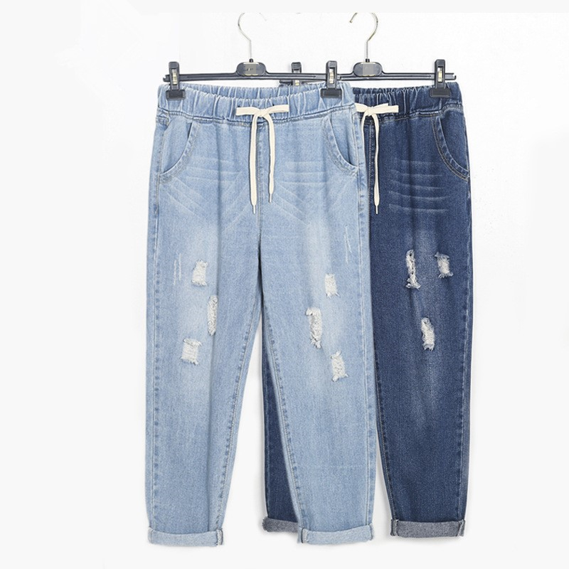 Harem   Jeans   For Woman Ripped High Waist Fashion Loose Vintage Plus Size Blue Ankle Length Denim Pencil Pant 6xl