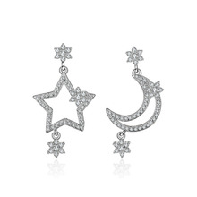 Hot sell fashion moon & star shiny crystal female gift 925 sterling silver ladies`stud earrings jewelry promotion wedding best