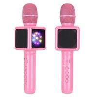 Wireless Karaoke Microphone, Portable Bluetooth Speaker Radio Studio Record Microphone Condenser for phone (Pink, Disco Light)